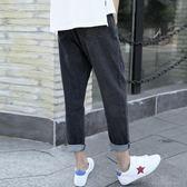 九分褲男夏季韓版牛仔褲男寬鬆潮流直筒黑色美式街頭簡約百搭 沸點奇跡