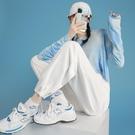 白色運動褲子女夏季薄款寬鬆束腳春裝2021年新款顯瘦闊腿休閒衛褲【快速出貨】