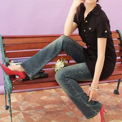 牛仔褲--暢銷上千條-懷舊潑水痕中低腰小喇叭牛仔褲(S-7L)-N86眼圈熊中大尺碼