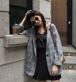西裝外套女韓版寬鬆格子休閒顯瘦酷復古【聚寶屋】