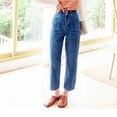 高含棉寬腰頭造型口袋牛仔九分褲 OB嚴選《BA6382-》