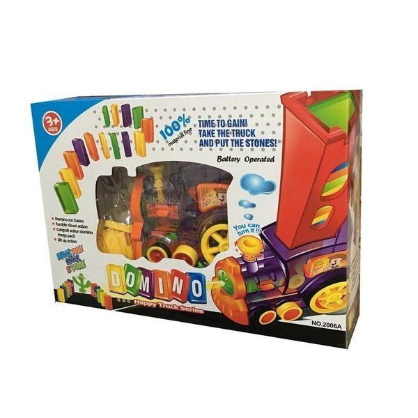 多米諾電動骨牌車 ( 80PCS ) ←兒童玩具 電動 骨牌火車 小熊 益智遊戲 彩盒裝 批發 團購