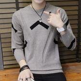 針織衫毛衣男新款圓領毛衣青少年保暖內衣帥氣長袖套頭針織衫可外穿