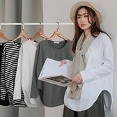 MIUSTAR ㄩ型開衩下襬磨毛棉質上衣(共4色)【NJ0085】預購