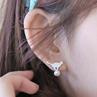 925純銀耳環 珍珠(耳針式)-小貓咪生日情人節禮物女飾品73ag287【巴黎精品】