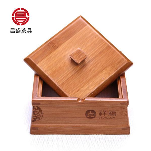 祥福煙灰缸創意帶蓋竹子竹制定制缸實木大號復古個性【時尚家居館】