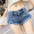 夏季夜店酒吧性感鏤空翹臀超低腰牛仔短褲女DS街舞熱褲 Ballet朵朵