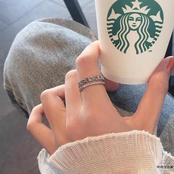 純銀雙層鏈條戒指女氣質鋯石開口可調節指環【時尚大衣櫥】