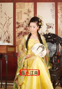 品衣江南/黃色古裝/染花軟紗唐裝漢服/GZ030