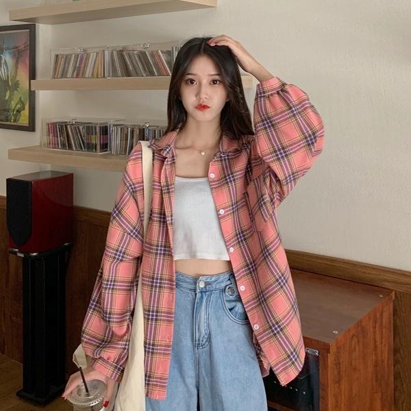 (免運)DE shop - 格子襯衫百搭韓版寬鬆長袖襯衣防曬外套上衣 YY-888