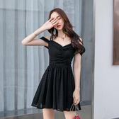 洋裝 一字領露肩字母短袖黑色派對夜店 韓版 婚禮小禮服 連身裙 花漾小姐【預購】