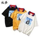 夏季貓咪貼布POLO衫翻領短袖t恤男港風文藝學生情侶寬鬆半袖上衣