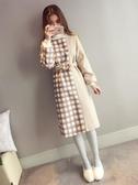 毛呢連身裙女秋冬新款氣質收腰顯瘦加厚裝打底裙潮冬季衛衣裙 限時熱賣