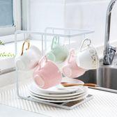 居家家帶托盤杯子架家用水杯架瀝水架放杯子的掛架水杯架子茶杯架【黑色地帶】