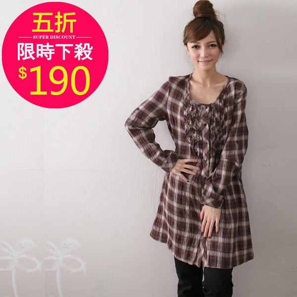 襯衫【6099】FEELNET中大尺碼女裝春裝格子拼接長袖襯衣42-46碼