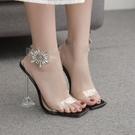 新款水鉆太陽花方頭透明酒杯跟高跟涼鞋女 夜店舞臺表演高跟鞋