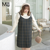 Miss38-(現貨)【A10765】大尺碼吊帶裙 羊毛呢磨毛 藍咖色格子背心裙 保暖百搭連身裙-中大尺碼女裝
