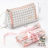 大容量帆布筆袋簡約女可愛多功能文具盒筆盒鉛筆袋日系【步行者戶外生活館】