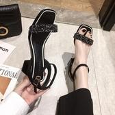 涼鞋女仙女風2020年夏季新款時裝夏天百搭網紅粗跟黑色高跟鞋潮夏