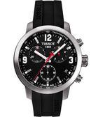 TISSOT 天梭 PRC200 競速三眼計時手錶-黑X橡膠 T0554171705700