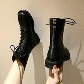 女鞋新款繫帶百搭黑色帥氣短靴後拉錬馬丁靴女英倫風鞋子 【雙十二免運】