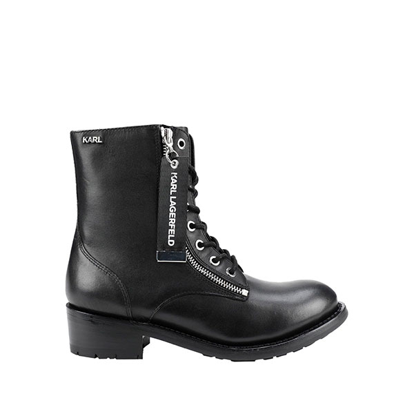 Karl Lagerfeld 卡爾 老佛爺 女鞋 BIKER 率性綁帶高筒靴-黑