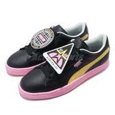 Puma 休閒鞋 Basket Badge TZ Wns 黑 黃 造型鞋舌 可拆式設計 皮革鞋面 運動鞋 女鞋【PUMP306】 36945501