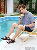 駱駝夏季男士商務皮涼鞋休閒外穿涼拖鞋中老年爸爸沙灘鞋 花樣年華
