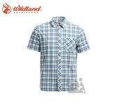 丹大戶外【Wildland】荒野 男彈性抗UV格子短袖襯衫 0A71208-72 深藍