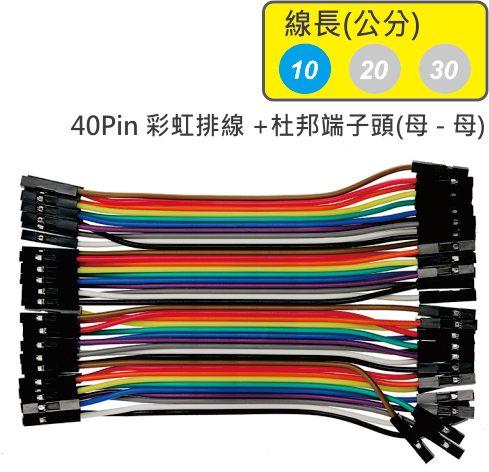 40Pin彩虹排線 + 雙頭杜邦端子 母頭 - 母頭( 線長10公分 )
