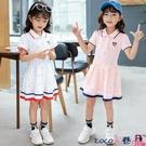 熱賣兒童洋裝 女童純棉連身裙夏短袖韓版2021新款學院風裙子兒童公主裙女中大童 coco
