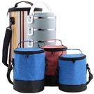 便當袋 圓形保溫飯盒袋子裝桶套防水手提牛津帆布加厚帶飯冰保鮮便當袋包 免運