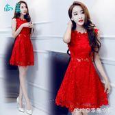 夏季新款女裝小清新性感無袖顯瘦收腰蕾絲洋裝紅色小禮服潮 糖糖日系森女屋