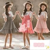 女童短袖洋裝 女童夏裝連身裙假兩件純棉格子薄款夏天短袖兒童裙子 【萌萌噠】