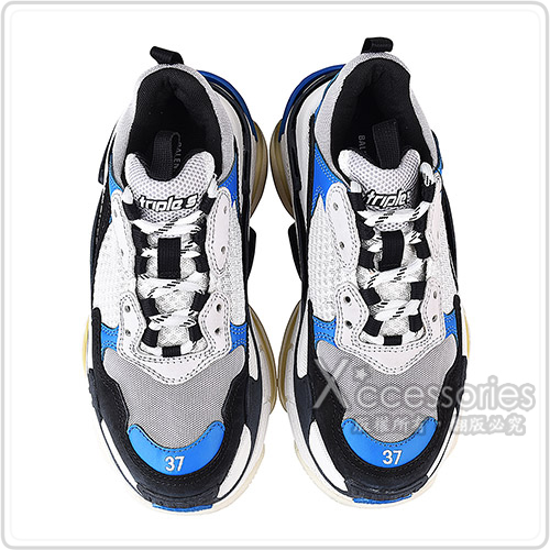 BALENCIAGA TRIPLE S刺繡LOGO拼接設計女款老爹鞋(藍x黑x白)