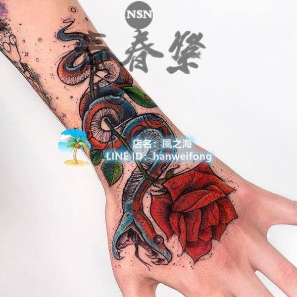 5張網老學派風紅蛇玫瑰花手背紋身貼紙防水持久男女潮仿真刺青貼紙【風之海】