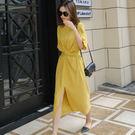 黃色扭結前開衩休閒長洋裝     ♥ o...