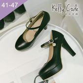 大尺碼女鞋-凱莉密碼-氣質腳背帶瑪莉珍防水台粗跟高跟鞋10.5cm(41-47)【HL2-7】黑色