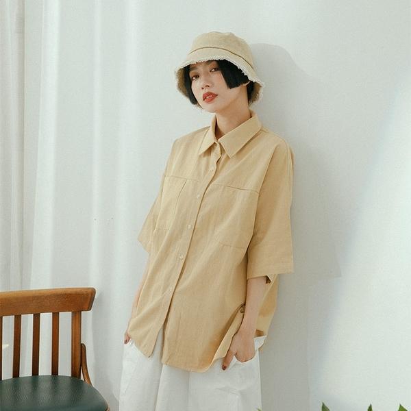 Queen Shop【01024059】雙口袋造型落肩寬版排釦襯衫 兩色售*現+預*