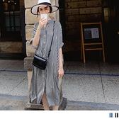 《DA7786-》知性涼感排釦條紋休閒洋裝(附綁帶) OB嚴選