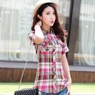 夏裝新款修身格子襯衫女韓版短袖襯衣女快速出貨