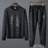 秋季迷彩2020新款時尚衛衣衛褲一套衣服男休閒運動套裝加肥加大碼 依凡卡時尚
