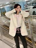 小西裝外套女白色韓版炸街設計感套裝小個子西服【桃可可服飾】