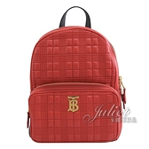 茱麗葉精品【全新現貨】BURBERRY 8024221 绗缝羔羊皮後背包.紅