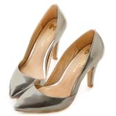 amai法式素面低口尖頭高跟鞋 銀