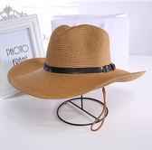 可摺疊情侶款沙灘帽草帽牛仔釣魚帽大沿帽夏季天遮陽帽子男士禮帽