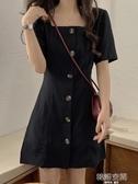 連身裙 春夏2020新款韓版收腰顯瘦方領短袖小黑裙洋氣百搭簡約洋裝女潮