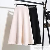 秋冬長裙2020新款裙子中長款半身裙女冬季高腰流蘇冬裙黑色針織裙 女神購物節