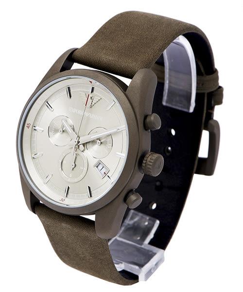 EMPORIO ARMANI  Sportivo 文雅時尚三眼手錶 (AR6076)-但綠色面X灰綠色/42mm