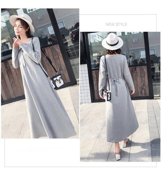 漂亮小媽咪 韓國洋裝 【D5088】 修身 顯瘦 開襟 長袖 長裙 孕婦洋裝 孕婦裝 孕婦裙 長洋裝